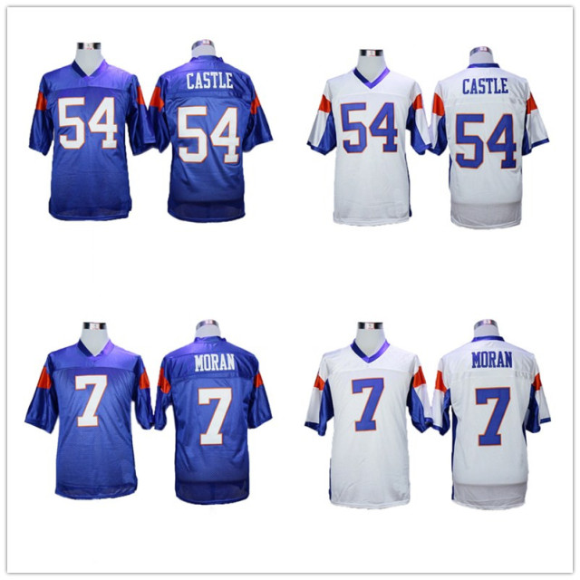 Blue Mountain State 54 Thad Castle 7 Alex Moran Football Jerseys Top  Quality Stitched Blue White Football Shirts Wholesale 795845404614