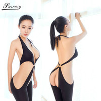 2017 New Sexy Lingerie For Women Black Open Crotch Bodysuit Hipless Sheer Bra Tops Halter Style