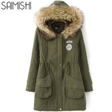 Saimishi Winter Warm Coat Women Long Parkas Fashion Faux Fur Hooded Womens Overcoat Casual Cotton Padded Jacket Mutil Colors(China)