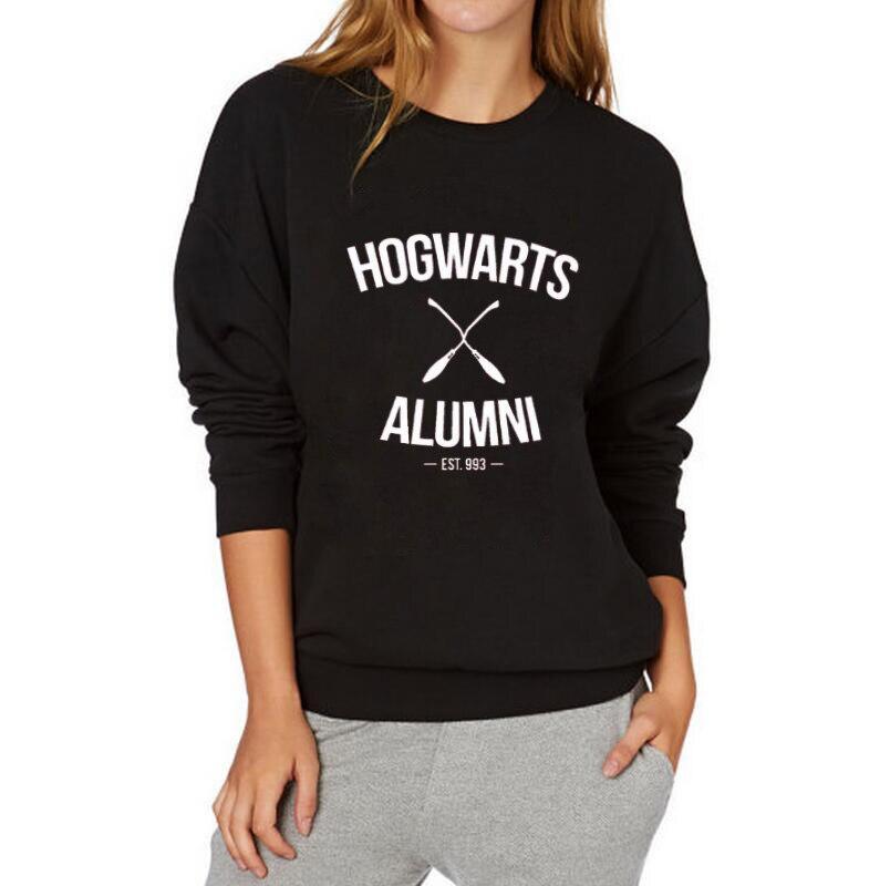 Adult Sweatshirt Women Tops Casual Female Tracksuit Black White Fashion Crewneck Hoodies Hogwarts Alumni