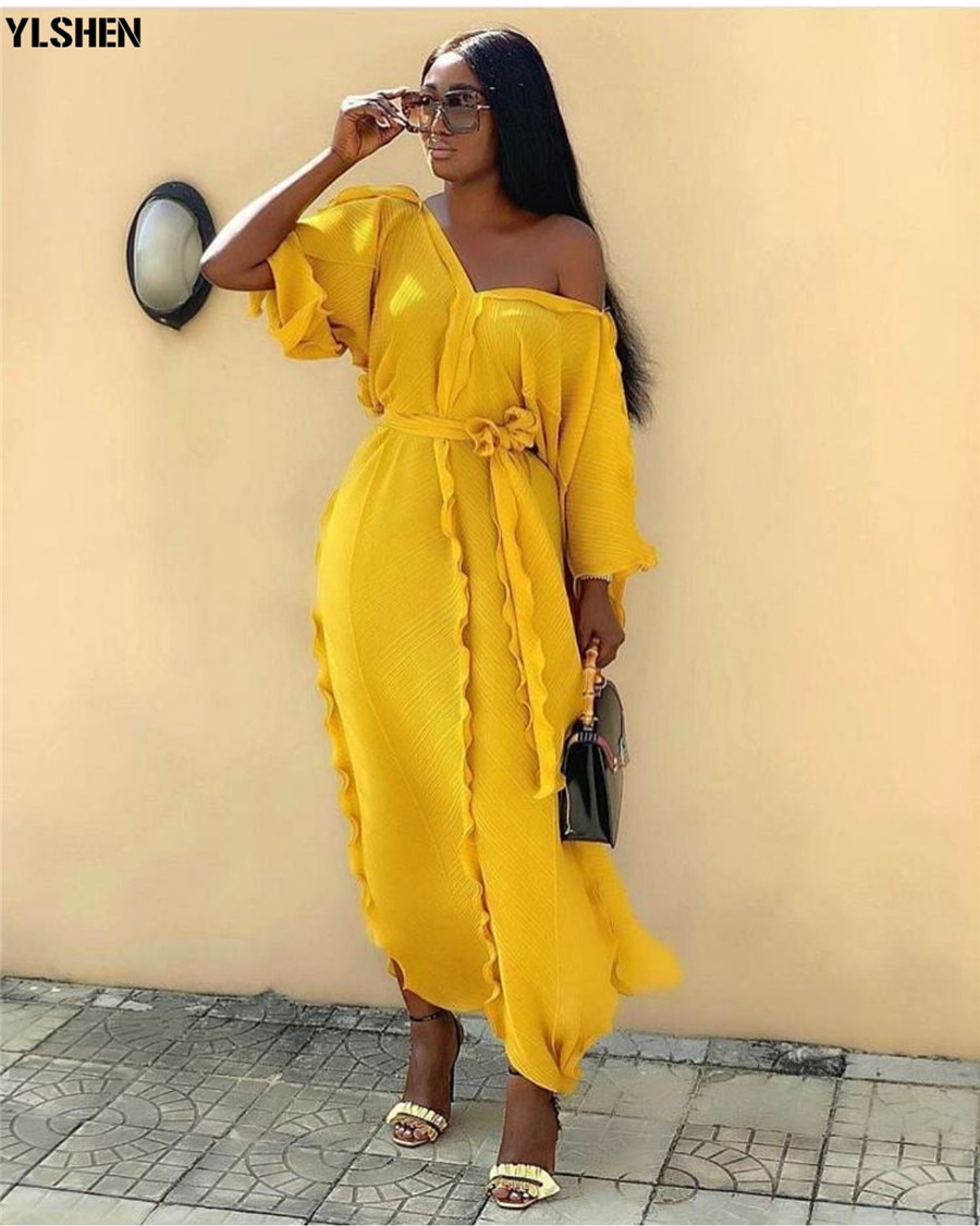 New African Dresses For Women Dashiki Falbala African Dress Clothes Bazin Riche Sexy Pleat V-neck Long Africa Maxi Dress Woman