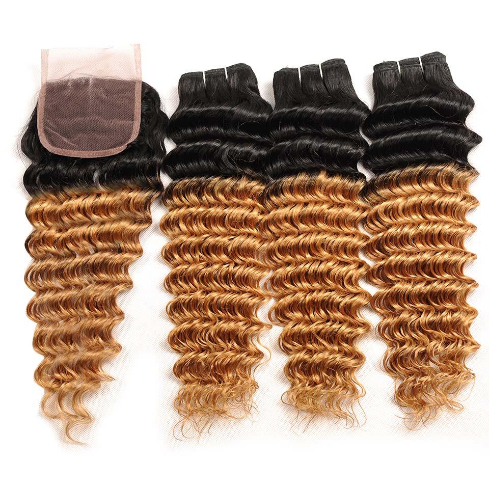 Pinshair Ombre Brasilian Hår Deep Wave Blonde 3 Bundlar With Closure - Skönhet och hälsa - Foto 3