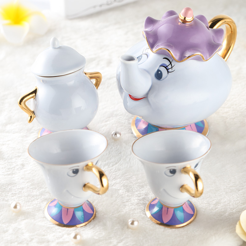 [1 Pot + 2 kopper + 1 sukkerbolle] Cartoon Beauty And The Beast Tesett Mrs Potts Chip Pot Cup Kaffekrus Søt jul Bursdagsgave