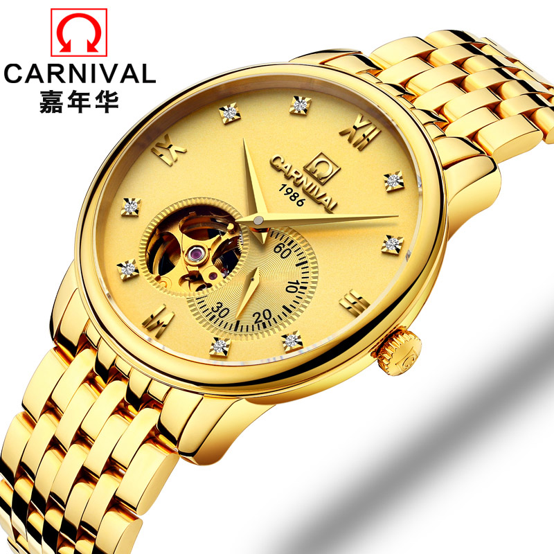 CARNIVAL New Fashion Tourbillon Men Watch Top brand Automatic Watch men Small second dial Sapphire waterproof Mechanical Watches цена 2017