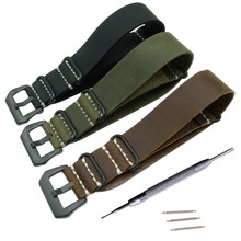 Black Brown Green Watch Strap Handmade Crazy Horse Leather Strap Watch Band 22mm 24mm 26mm Zulu For Nato G10 Replacement все цены