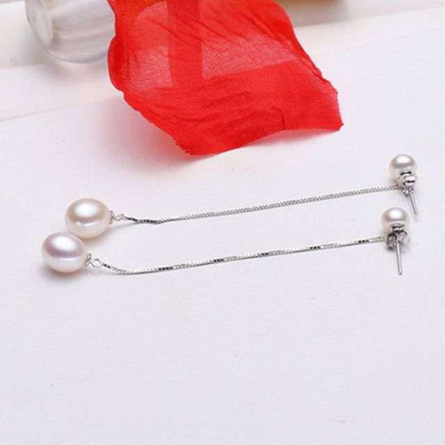 ASHIQI 925 sterling silver drop Earrings Natural Freshwater double Pearl Earrings Fine jewelry for Women gift