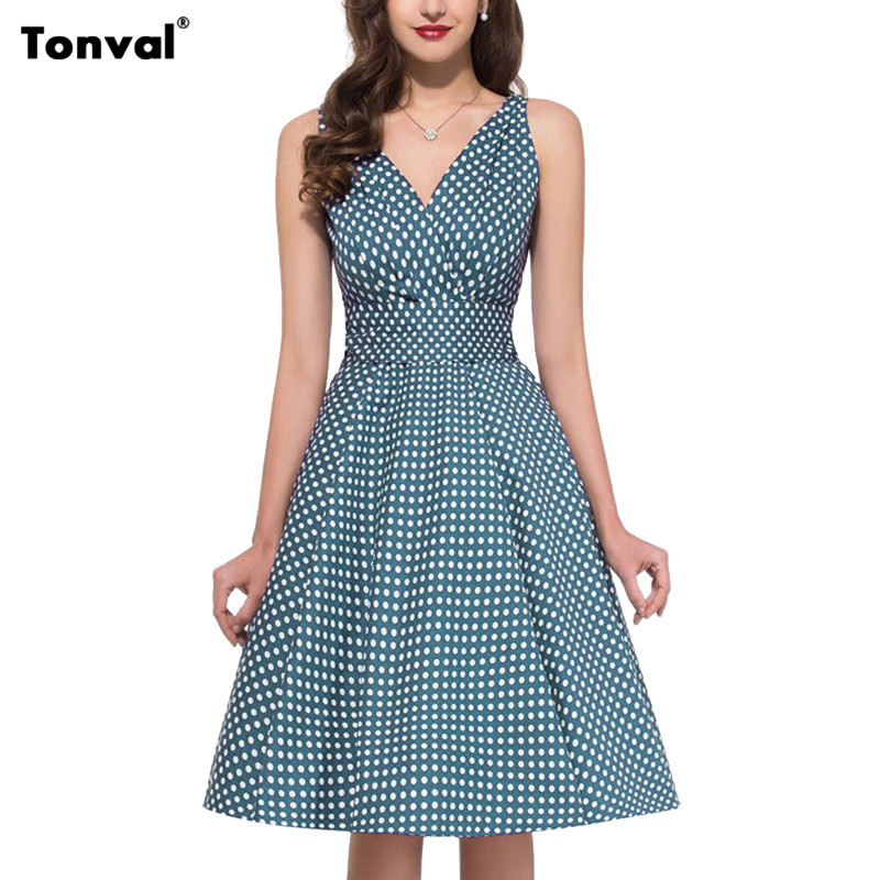 Tonval Women Polka Dot Pleated Dress Vintage Pin Up Style Sexy Backless Dresses Summer Deep V Neck Tie Back Swing Dress