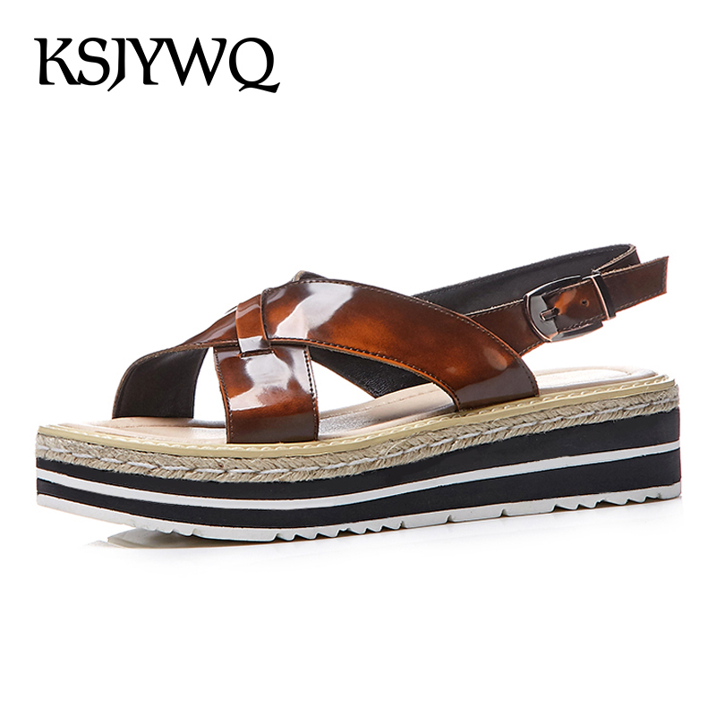53a79cc2a23 KSJYWQ 2018 Summer Genuine Leather Platform Sandals 5.5 CM Thick Soles Sexy  Open-toe Buckle Wedge Shoes Woman Box Packing r-717