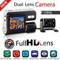 Melhor Câmera Do Carro dvr i1000 Dual lens Câmera Do Carro DVR Full HD 1080 P Traço Cam Caixa Preta Com 2 Cam Veículo Visão Traseira Do Carro gravador