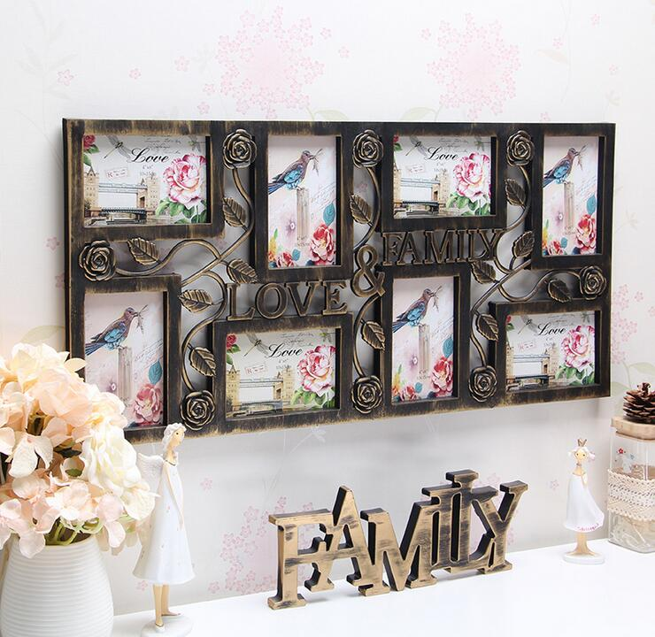 family love wall hanging photo collage frame 8 picture display bronze color home decorchina