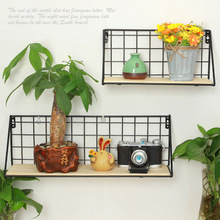 Creative Metal Wall Mount Shelf Portable Wooden Iron Flower Pot Bathroom Kitchen Book Storage Rack Home Bedroom Decoration