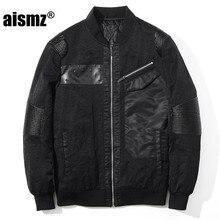 Aismz Cool Men s Jacket Coat Male High Quality PU Leather Patchwork Air Force Windbreaker Pilot