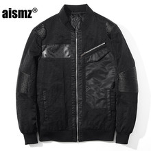 Aismz Cool Men's Jacket Coat Male High Quality PU Leather Patchwork Air Force Windbreaker Pilot Bomber Flight Jacket 8850