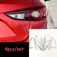 ABS Chrome For Mazda 3 Axela 2015 2017 Car Tail Lights Rear Lamps Decoration Frame Cover Trim accessories car styling 4pcs