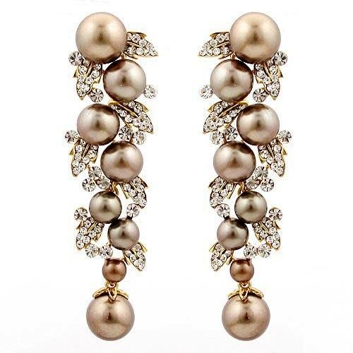 Brown Gold Imitation Pearl Drop Earrings Wedding Jewelry Ba 120 Aaa Crystal High
