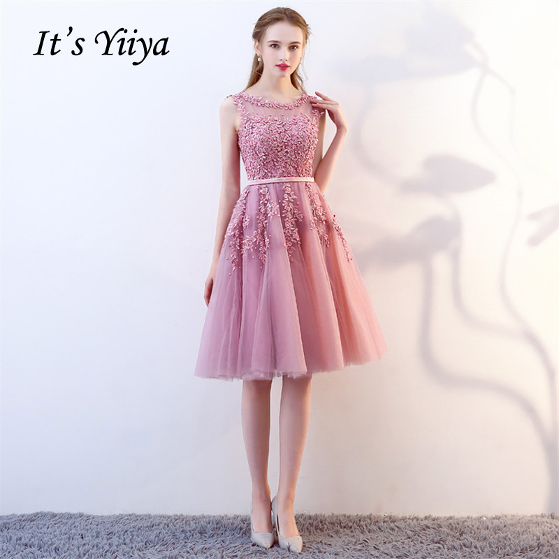 It's YiiYa   Cocktail     Dress   Pink Beading Embroidery Floral Sleeveless O-neck Knee-lenght Party   Dresses   MYF007 In Stock