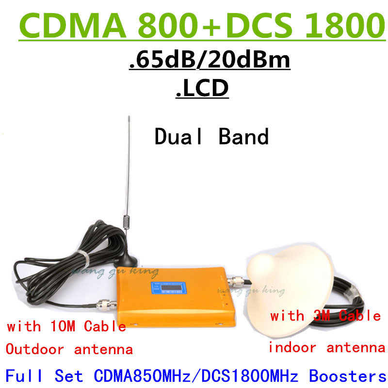 Full Set CDMA 800 DCS 1800 Dual Band Mobile Signal Booster,GSM 850 4G 1800MHz Cellular Repeater Amplifier+Sucker+Dome Antenna