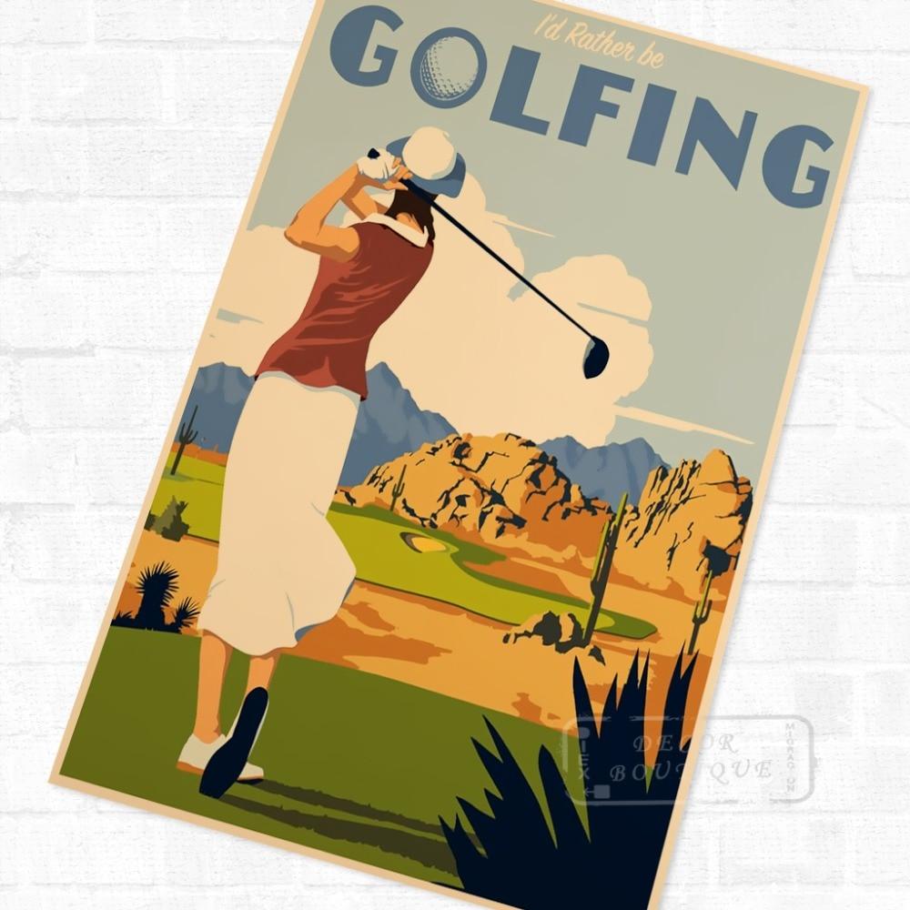 Pop Art Golfing Sports Classic Vintage Retro Kraft Poster Decorative ...