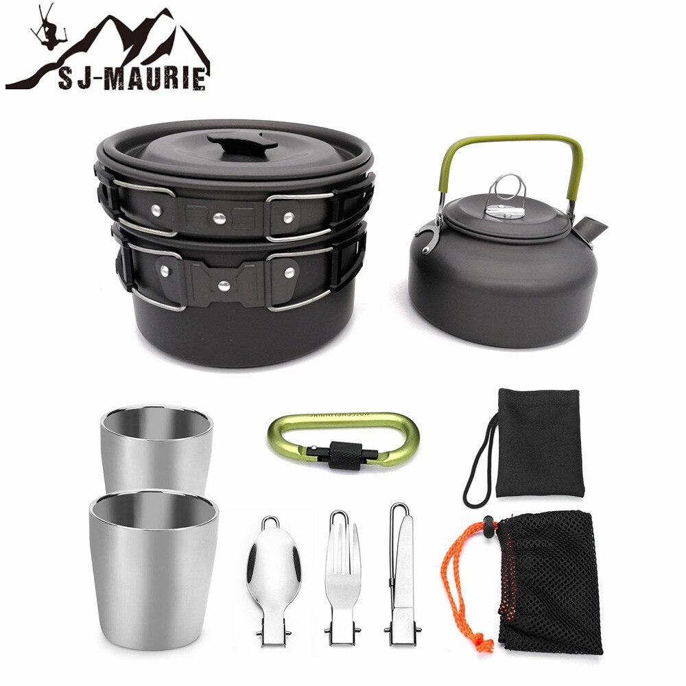 Sj-maurie 1 Set extérieur casseroles casseroles Camping ustensiles de cuisine pique-nique antiadhésif vaisselle avec cuillère pliable fourchette couteau bouilloire tasse