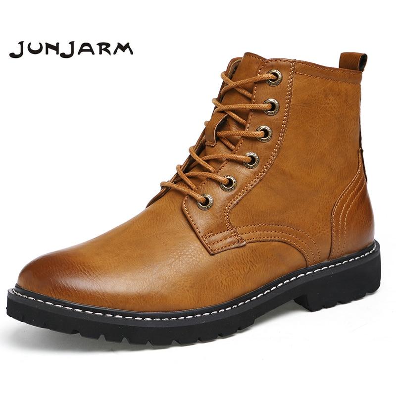 JUNJARM 2017 Warm Men Martin Boots Fashion Men Ankle Boots Lace Up Men Motorcycle Boots High Quality Plus Fur Men Winter Shoes