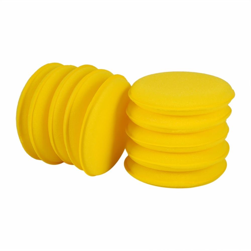 Yellow Auto Car Waxing Polish Soft Foam Sponge Wax Applicator Cleaning Detailing Pads 10 PCS Set