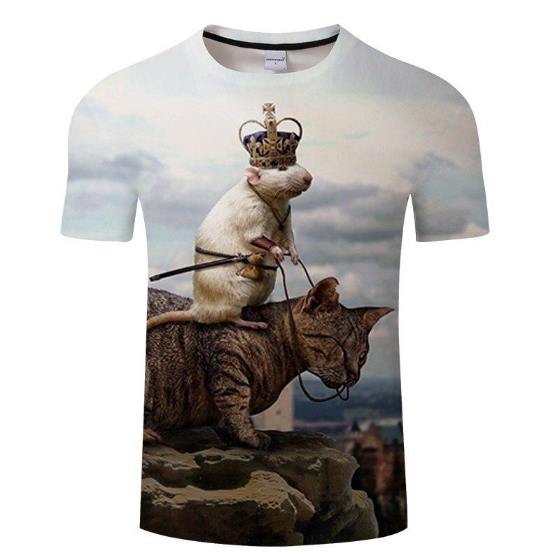 Черная футболка с 3D принтом кота для мужчин и женщин, летняя повседневная футболка с коротким рукавом и круглым вырезом, Топы И Футболки, Забавные футболки, Азиатские размеры S-6XL - Цвет: TXKH3155