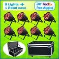 8 Lights + 1 Flight Case 24*15W RGBWA 5-IN-1 LED Par 64 Aluminum LED Par Cans Light 24x15 DMX Led Par Stage Lighting Effect