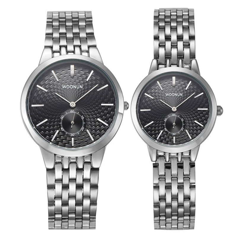 WOONUN Branded Couple Watches For Men And Women Stainless Steel Quartz Ultra Thin Watches Luxury Watch Set Best Gift