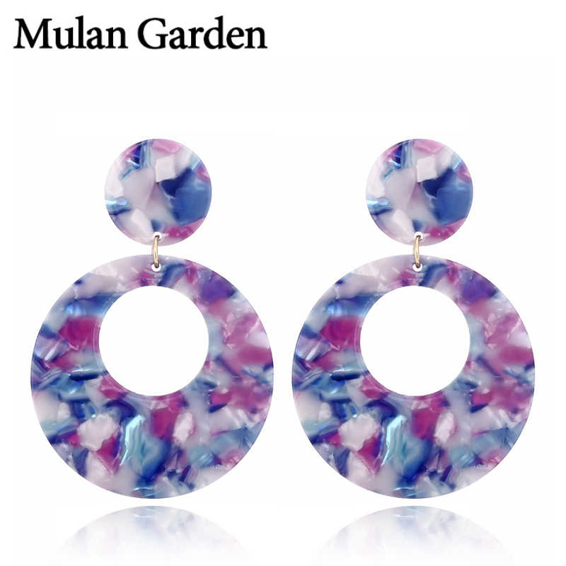 M&G Vintage Blue Round Acrylic Dangle Earrings for Women New Green Pink Red Acetate Resin Fashion Earrings Elegant Steel Jewelry
