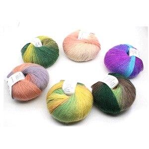 Image 3 - Cashmere Sợi Dệt Kim Chun Dệt Tay Len Rainbow Len Nhiều Màu Dệt Kim Số Điểm 100% Len Sợi Kim Croptop Dệt Sợi