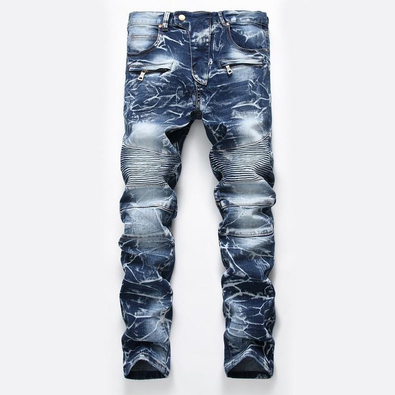 Hi-Street Mens Ripped Rider Biker Jeans Motorcycle Slim Fit Washed Blue Moto Pleated Denim Hip Hop Jeans Men Plus Size Pants men s skinny slim denim washed hip hop jeans vintage ripped biker classic slim pants relaxed fit bootcut jeans mens