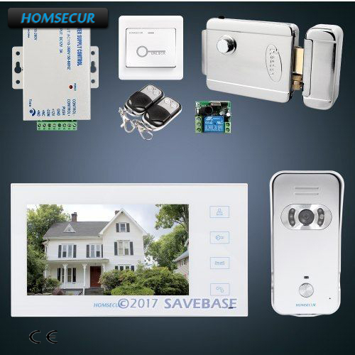 HOMSECUR 7 Hands free Video&Audio Smart Doorbell with Electric Lock+Keys Included+Power Supply+Remote Contoller