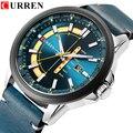 Neue Herren Uhren CURREN Einzigartige Mode Design Zifferblatt Quarz Armbanduhr Lederband Uhr Display Datum und Woche Uhr Grün Reloj-in Quarz-Uhren aus Uhren bei