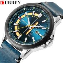 Nieuwe Heren Horloges CURREN Unieke Fashion Design Wijzerplaat Quartz Horloge Lederen Band Horloge Scherm Datum en Week Klok Groen Reloj