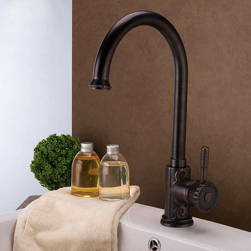 Oil Rubbed Bronze ORB Black Brass Kitchen Faucet Mixer Tap Swivel Spout Cold Hot Water brass polished Bathroom Sink faucet