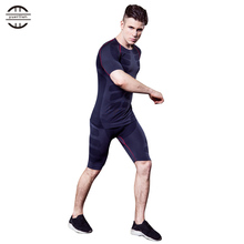 Brand New Compression Running Sets Men Shirt Fitness Shorts Male Running Gym Training Plus Size Tights