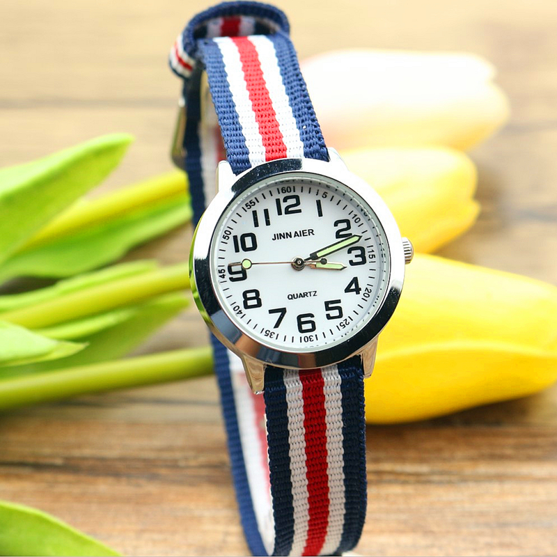 New Arrived Fashion Children Cute Learn To Time Number Quartz Watch Kids Luminous Hands Nylon Sports Gift Flower Lovely Watches