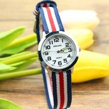 Новое поступление модные детские милые учиться количество времени Кварцевые часы детские светящиеся стрелки нейлон Спортивный подарок цветок прекрасный часы