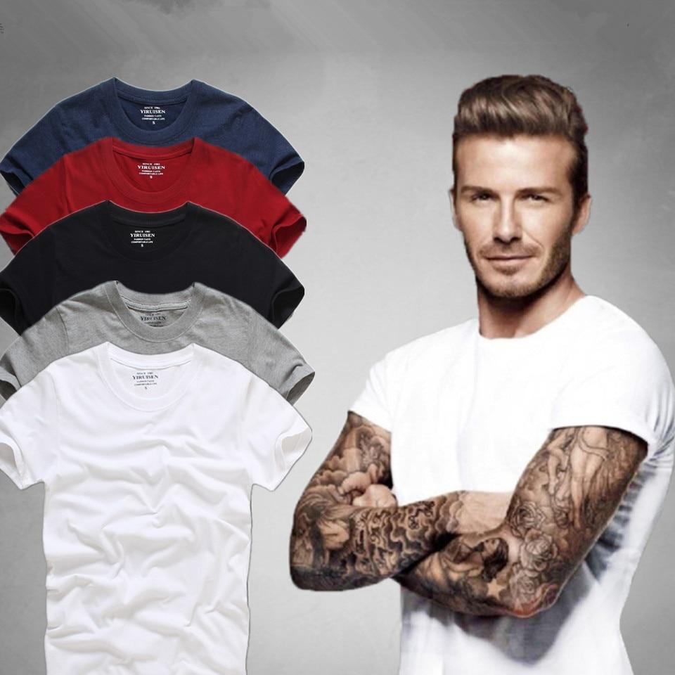 Aukščiausios kokybės vyrų trumpos rankovės 100% medvilnės marškinėliai vyrams 2016 vasaros AFS prekės ženklo marškinėliai vientisos spalvos atsitiktinis vyriškos kojinės