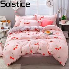 Solstice Cartoon Cute Little Cherry Style Children's Boy Girl Comforter Bedding Sets Bed Lining Duvet Cover Bed Sheet Pillowcase