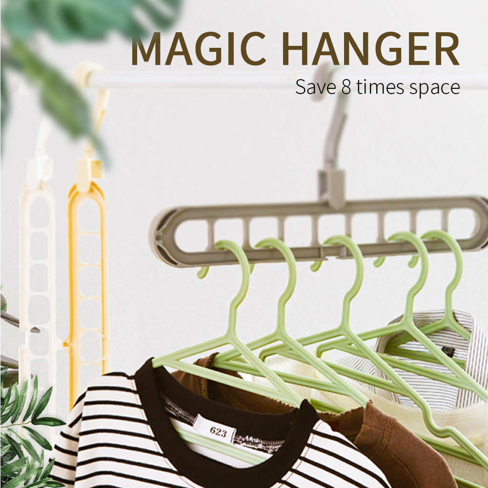 Plastic 9 Circle Magic Hanger Multilayer Windproof Clothes Hanger Organizer Fixed Storage Buckle Hanger Anti-Slip Folding Hanger