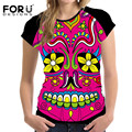 FORUDESIGNS Fashion 3D Skull Pattern Women Casual t shirt Tees Tops Rose Prints Slim Bodybuilding Breathable Female Shirt Femme