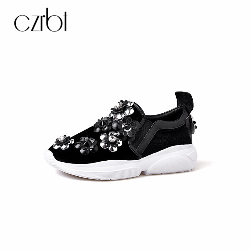 CZRBT Women Flat Shoes Casual Loafers 2018 Spring Autumn Genuine Leather Slip-On Shoes Plus Size Crystal Floral Platform Shoes цена