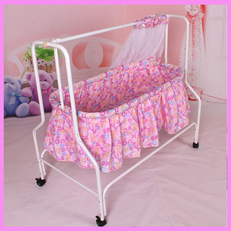 Folding Baby Cradle Crib with Netting Newborn Baby Rocking Crib Swing Bed Mosquito Net Roller Sleeping Basket Baby Bedding 2017 new babyruler portable baby cradle newborn light music rocking chair kid game swing