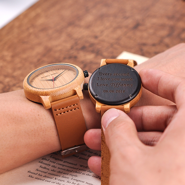 Engraved Watches For Men Women Lovers' Anniversary Engagement Gift Handmade Bamboo Personalized Watch relogio masculino A09A10 1