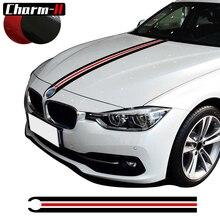 Car Hood Bonnet Racing Stripes Lines Vinyl Decals Garland Stickers for BMW 3 5 Series F30 F31 320i 316i F10 F11 520i 20cm 450cm car vinyl decals hood stickers racing stripes
