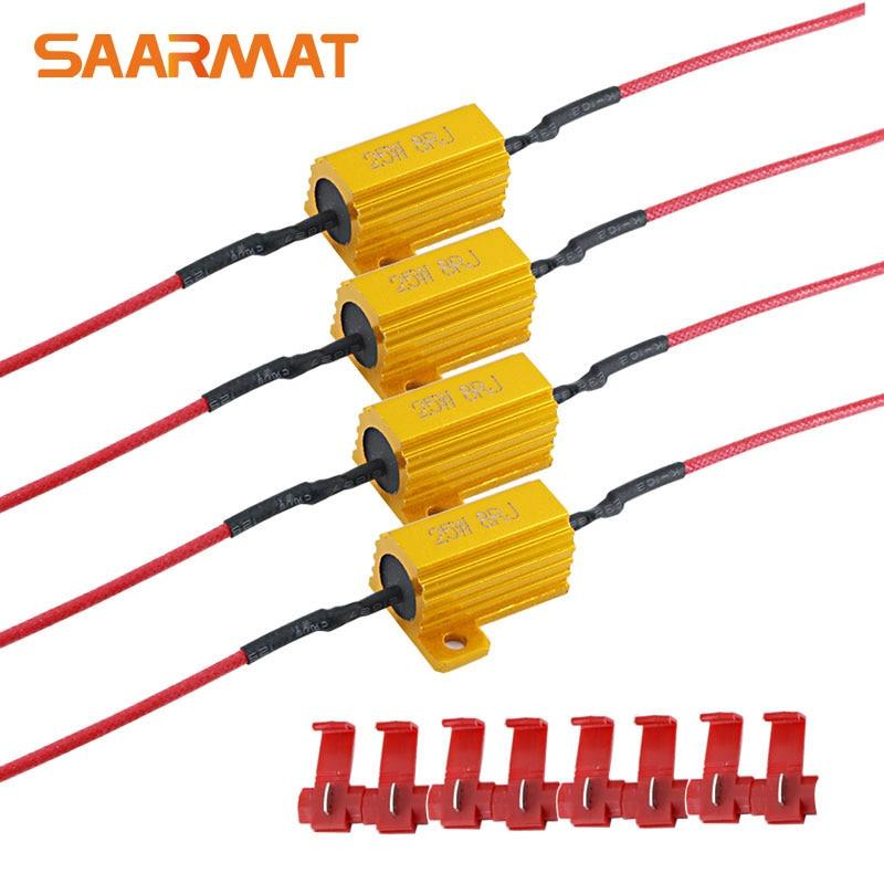4x 8ohm 25W Load Resistor Error Flash Canbus Error Free For LED Bulb Turn Signal Fog Lamp Reverse Light Daytime Running Light