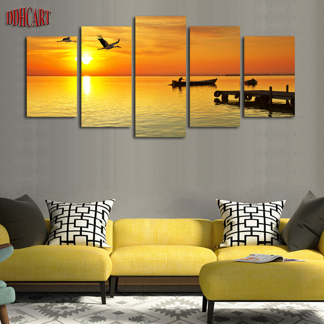 5 Piece Birds Boats Seascape Picture Print Painting On Canvas Wall ...