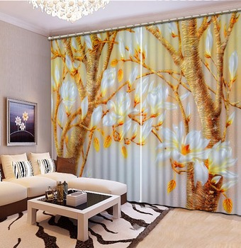 Home Bedroom Decoration Fashion Customized 3D Curtain Golden Leaf Magnolia Flower Curtains For Bedroom Blackout Shade Window