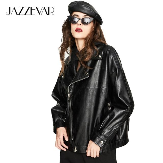JAZZEVAR 2018 New Autumn High Fashion Street Women's Washed PU Leather Jacket Short oversized Zipper Jackets Good Quality